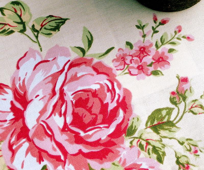 Floral fabric cabbage rose - cream